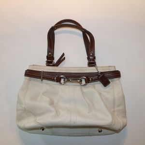 Coach White & Brown Leather Shoulder Bag Purse